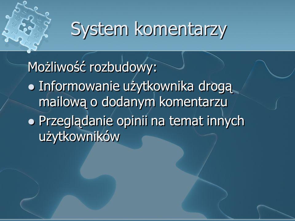 System komentarzy Możliwość rozbudowy: