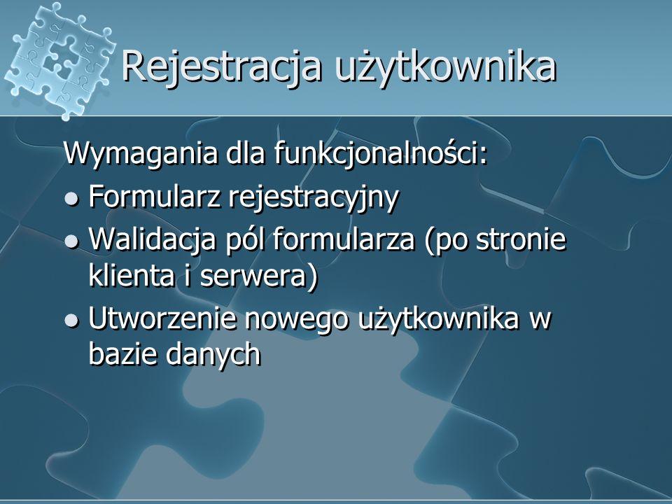 Rejestracja użytkownika