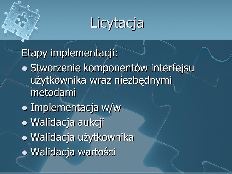 Licytacja Etapy implementacji: