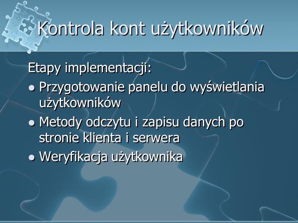 Kontrola kont użytkowników