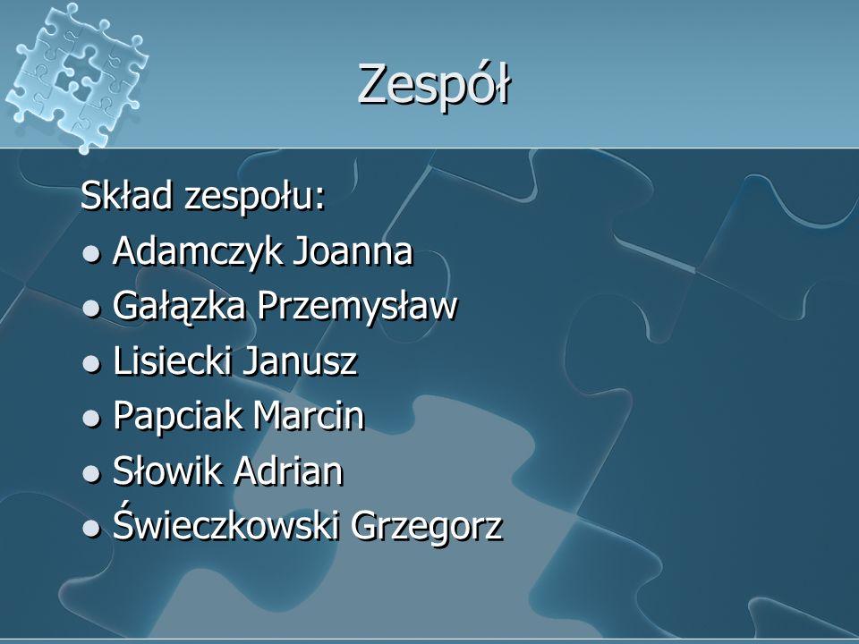 Zespół Skład zespołu: Adamczyk Joanna Gałązka Przemysław