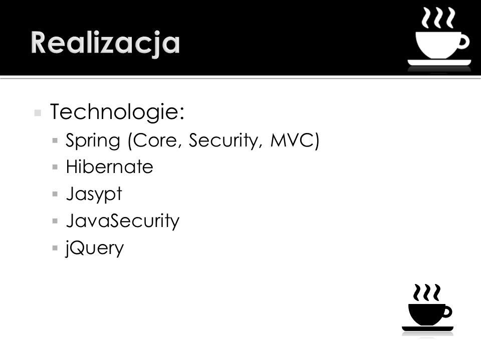 Realizacja Technologie: Spring (Core, Security, MVC) Hibernate Jasypt