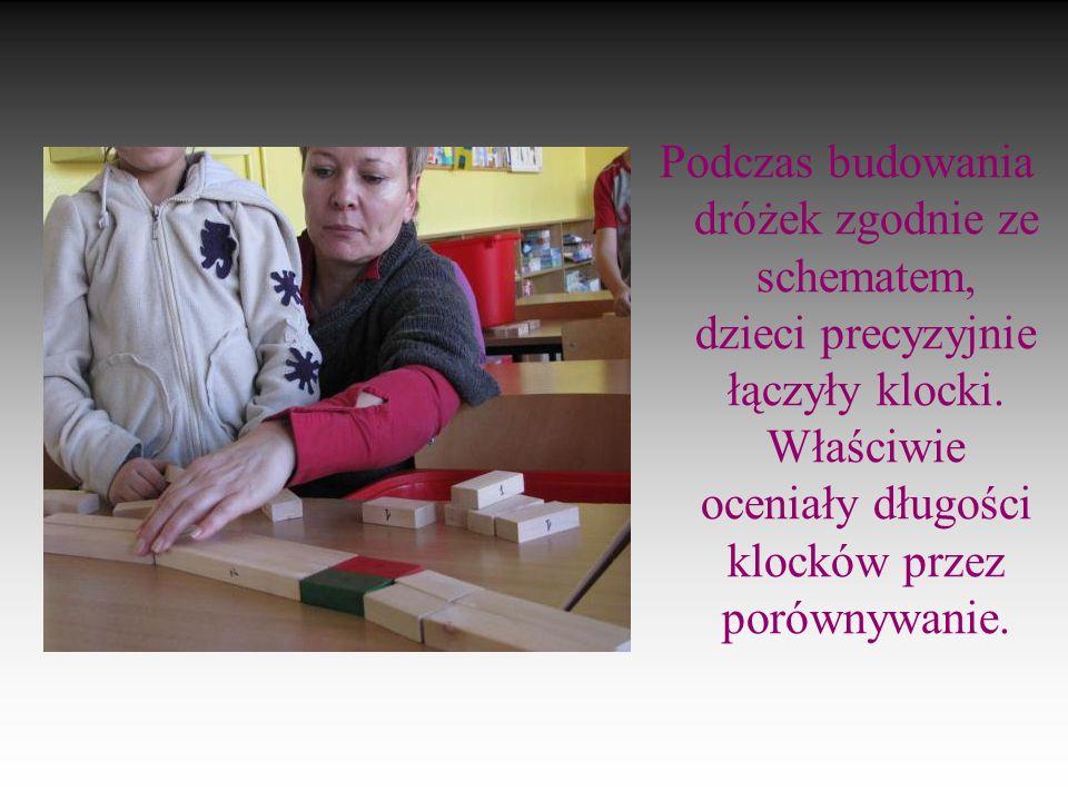 5 Podczas budowania dróżek zgodnie ze schematem, dzieci precyzyjnie łączyły klocki.