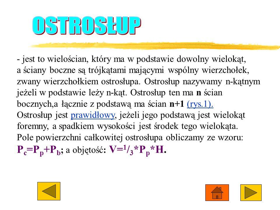 OSTROSŁUP Pc=Pp+Pb; a objętość: V=1/3*Pp*H.