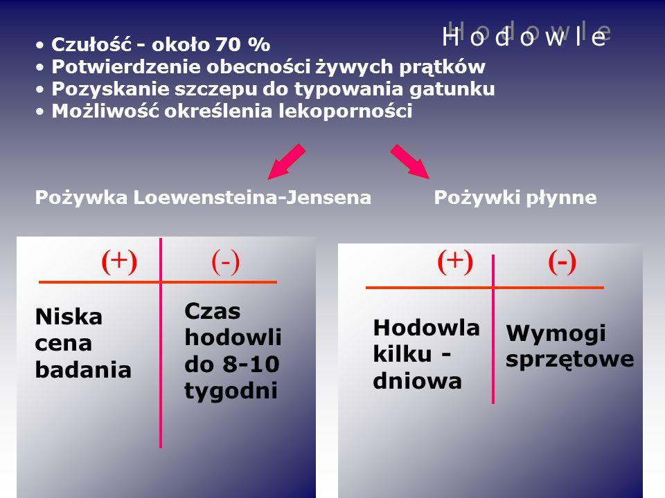 (+) (-) (+) (-) H o d o w l e Czas hodowli do 8-10 tygodni