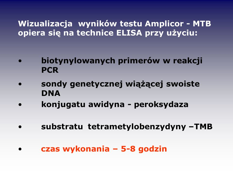 Wizualizacja wyników testu Amplicor - MTB opiera się na technice ELISA przy użyciu: