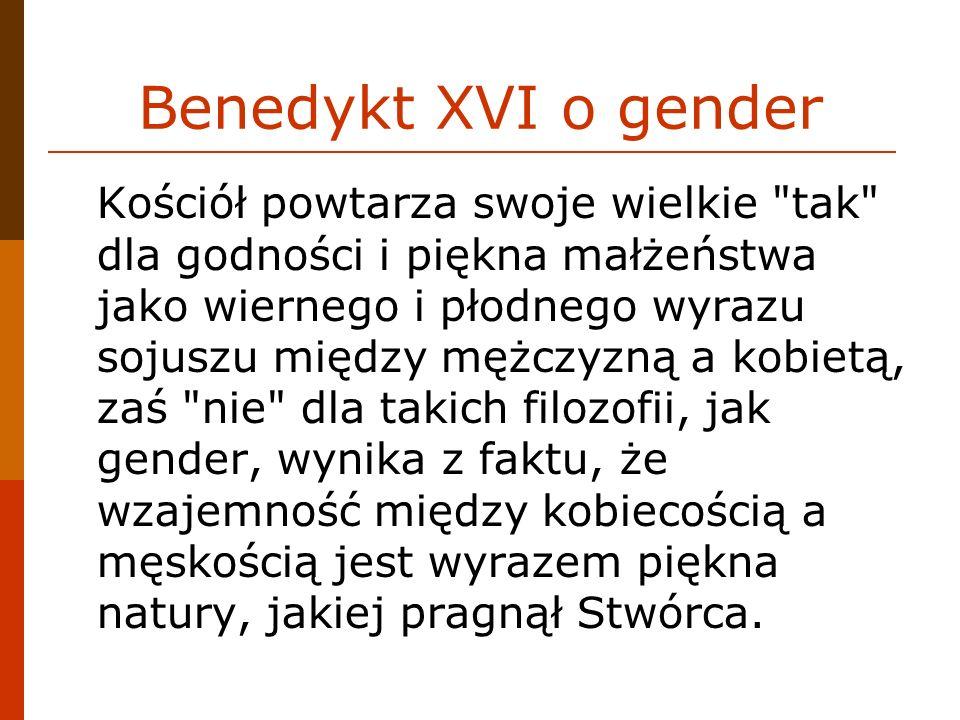 Benedykt XVI o gender