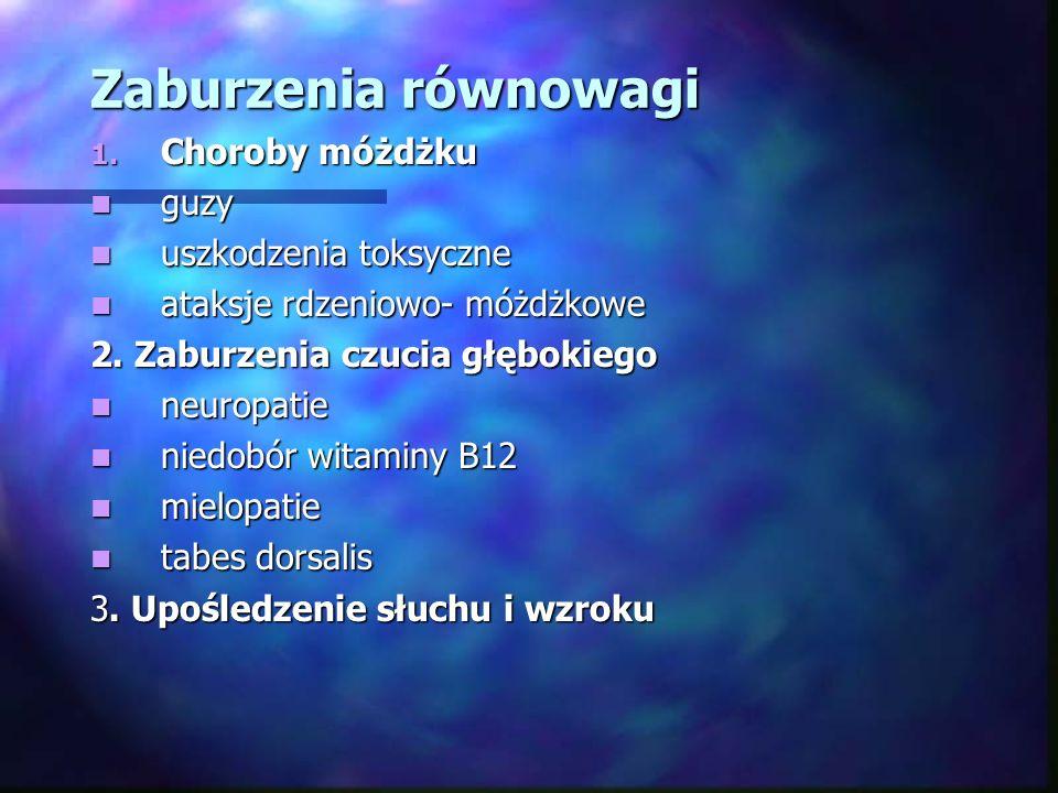 Zaburzenia równowagi Choroby móżdżku guzy uszkodzenia toksyczne