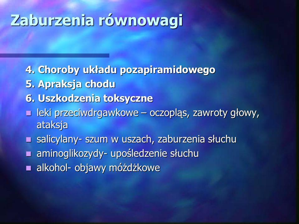 Zaburzenia równowagi 4. Choroby układu pozapiramidowego