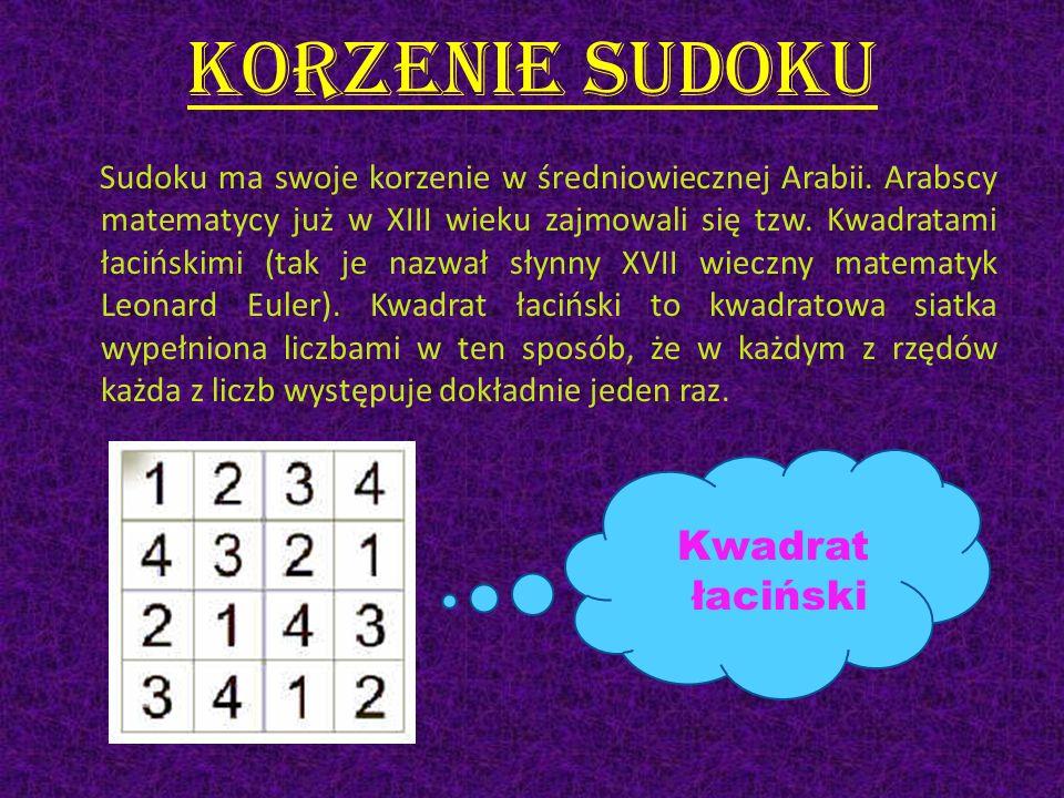 Korzenie sudoku Kwadrat łaciński