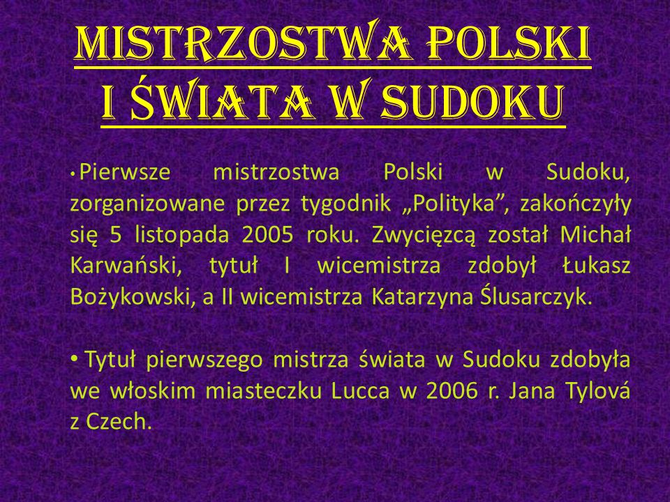 Mistrzostwa Polski i Świata w Sudoku