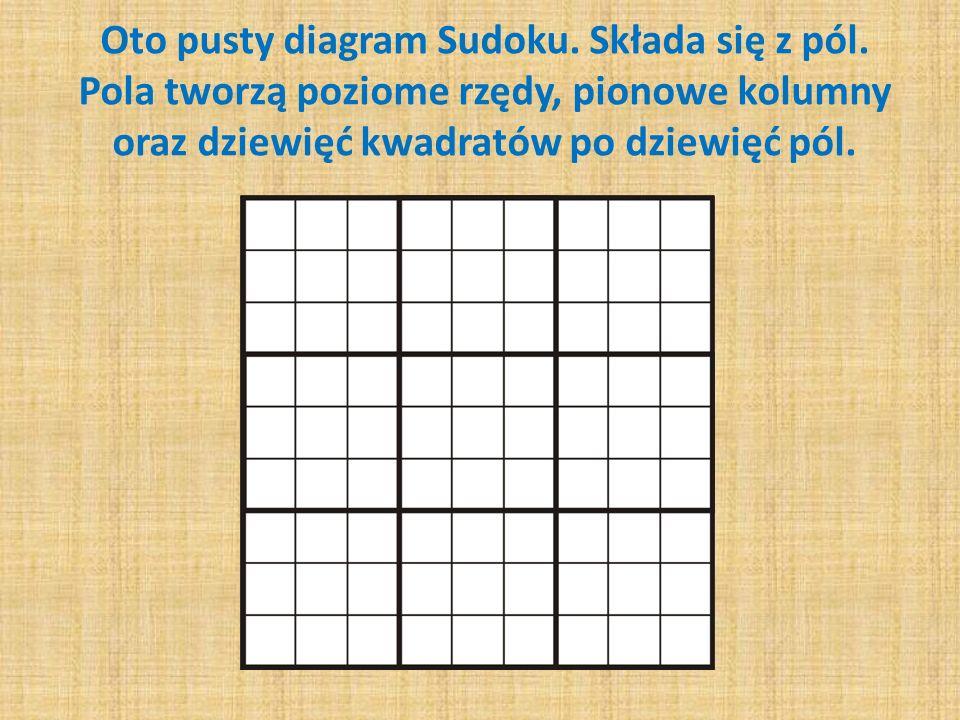 Oto pusty diagram Sudoku. Składa się z pól