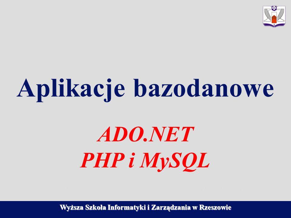Aplikacje bazodanowe ADO.NET PHP i MySQL