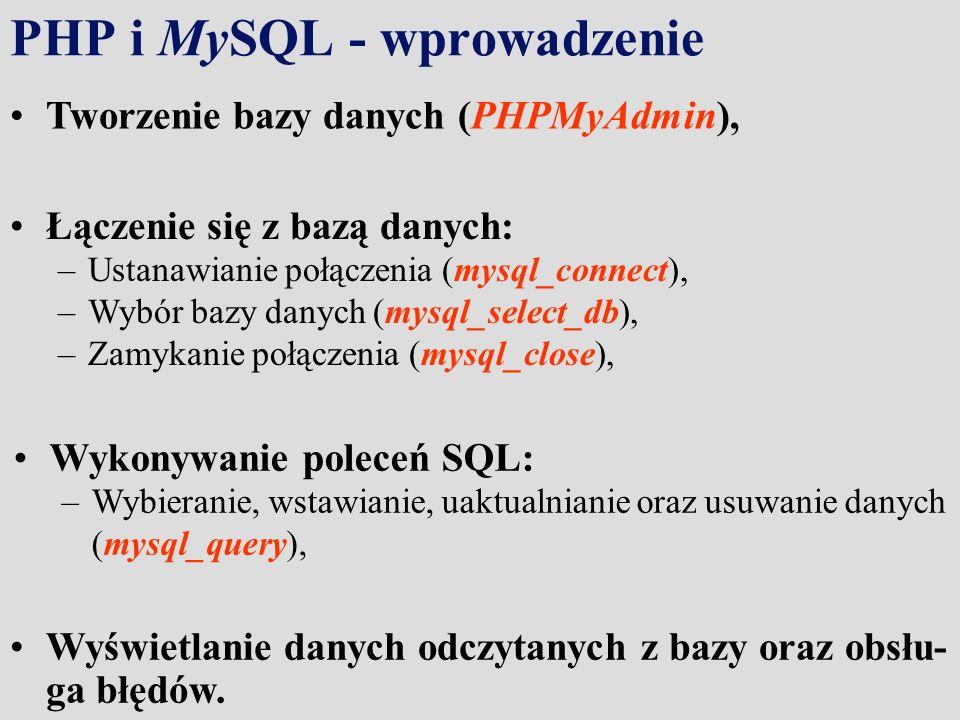 PHP i MySQL - wprowadzenie