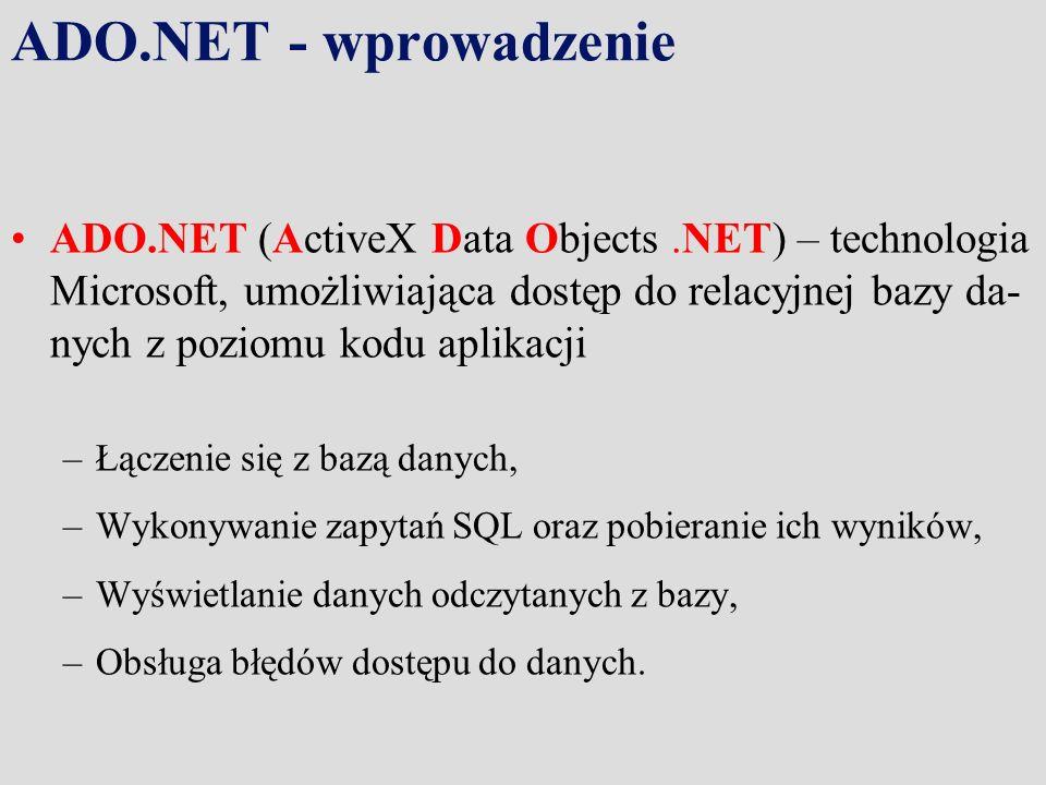 ADO.NET - wprowadzenie