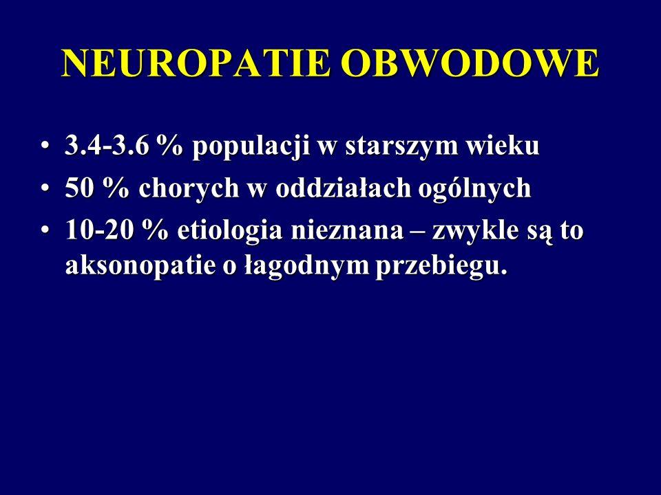 NEUROPATIE OBWODOWE 3.4-3.6 % populacji w starszym wieku