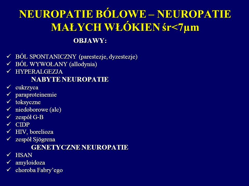 NEUROPATIE BÓLOWE – NEUROPATIE MAŁYCH WŁÓKIEN śr<7µm