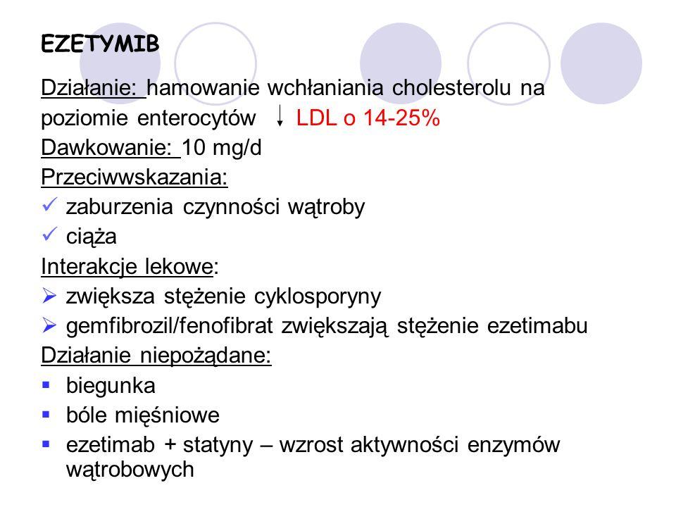 EZETYMIB Działanie: hamowanie wchłaniania cholesterolu na. poziomie enterocytów LDL o 14-25% Dawkowanie: 10 mg/d.