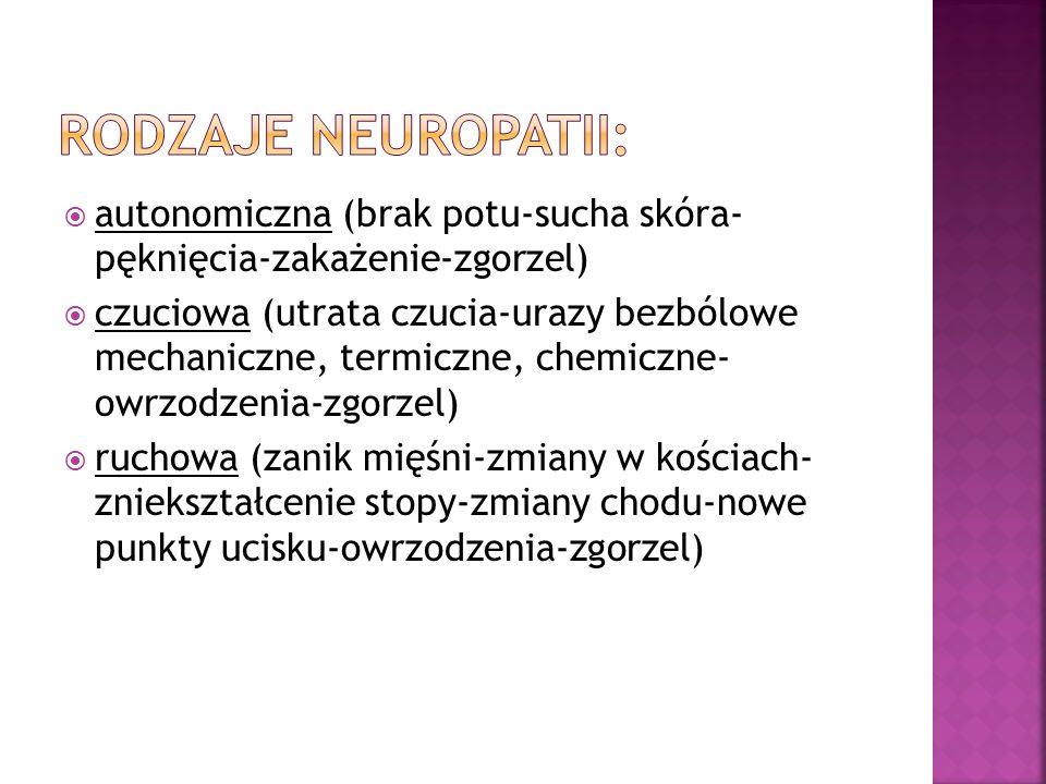 Rodzaje neuropatii: autonomiczna (brak potu-sucha skóra- pęknięcia-zakażenie-zgorzel)
