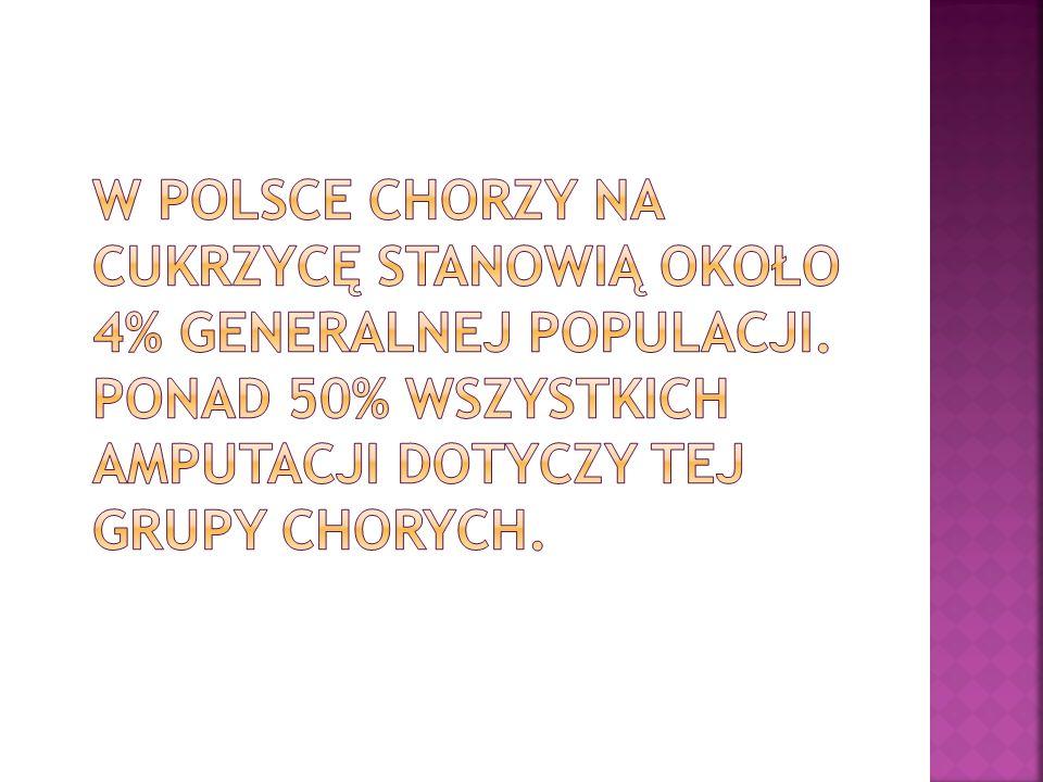 W Polsce chorzy na cukrzycę stanowią około 4% generalnej populacji