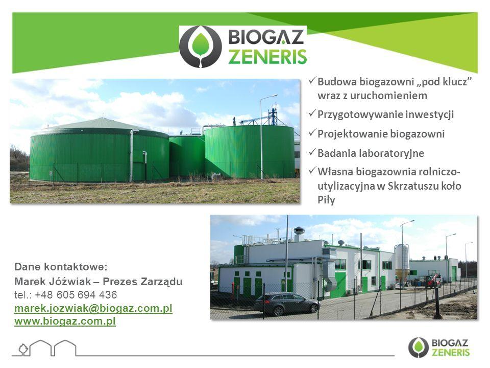 """Budowa biogazowni """"pod klucz wraz z uruchomieniem"""