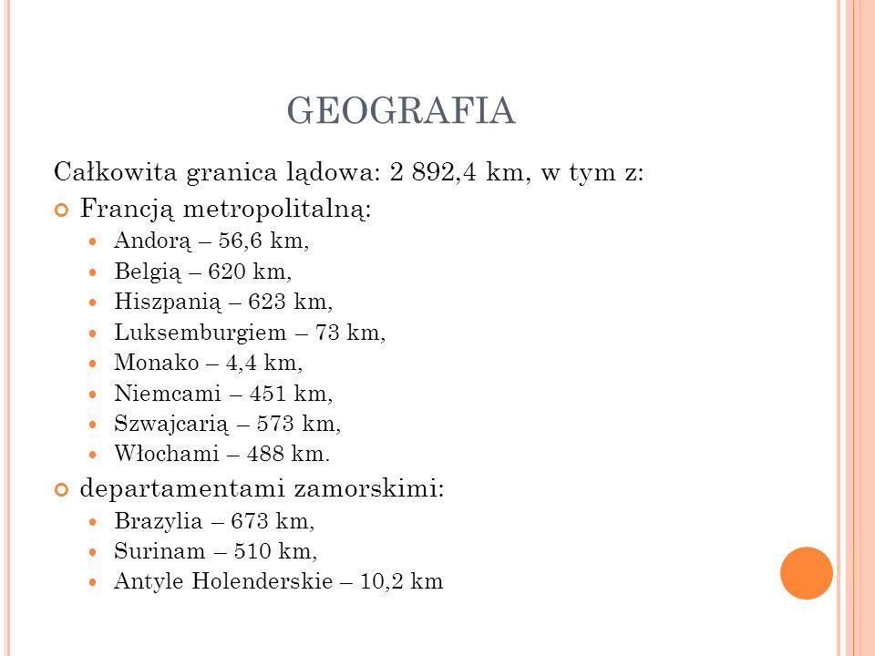 GEOGRAFIA Całkowita granica lądowa: 2 892,4 km, w tym z: