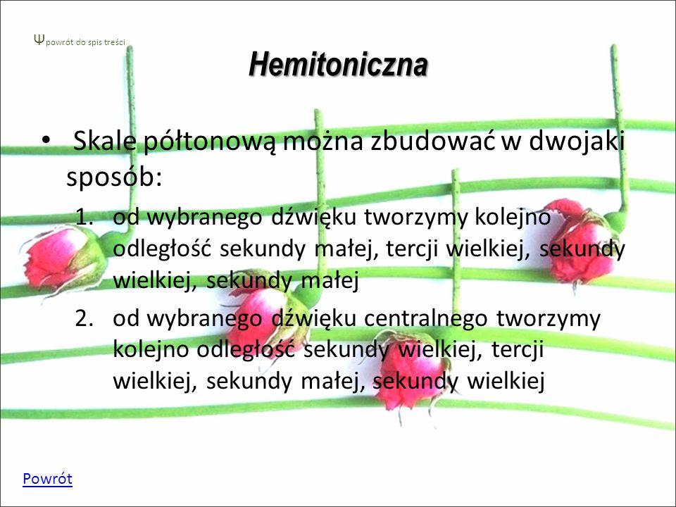 Hemitoniczna Skale półtonową można zbudować w dwojaki sposób: