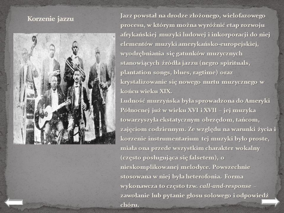 Jazz powstał na drodze złożonego, wielofazowego procesu, w którym można wyróżnić etap rozwoju afrykańskiej muzyki ludowej i inkorporacji do niej elementów muzyki amerykańsko-europejskiej, wyodrębniania się gatunków muzycznych stanowiących źródła jazzu (negro spirituals, plantation songs, blues, ragtime) oraz krystalizowanie się nowego nurtu muzycznego w końcu wieku XIX.