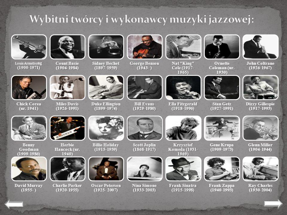 Wybitni twórcy i wykonawcy muzyki jazzowej: