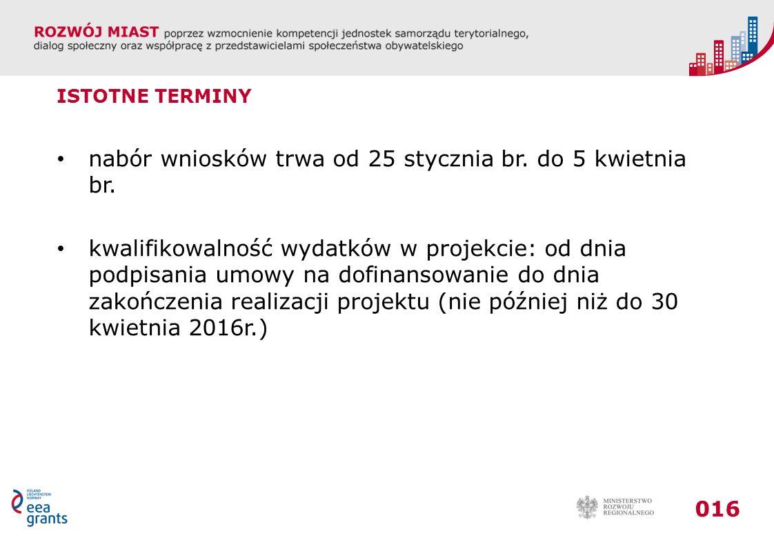 nabór wniosków trwa od 25 stycznia br. do 5 kwietnia br.