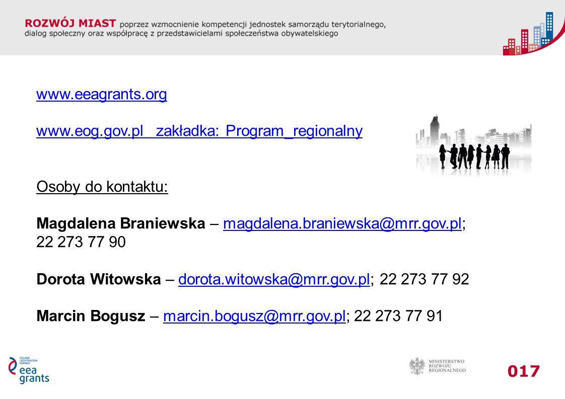 www.eeagrants.org www.eog.gov.pl zakładka: Program_regionalny. Osoby do kontaktu: Magdalena Braniewska – magdalena.braniewska@mrr.gov.pl;