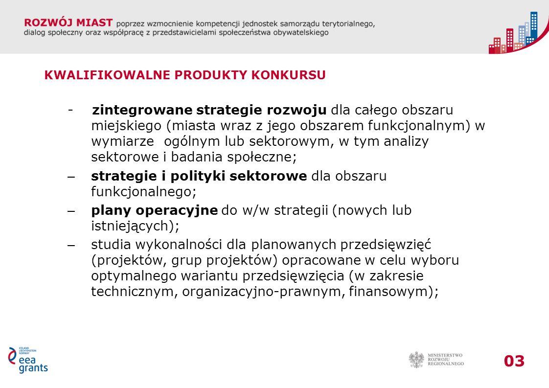strategie i polityki sektorowe dla obszaru funkcjonalnego;