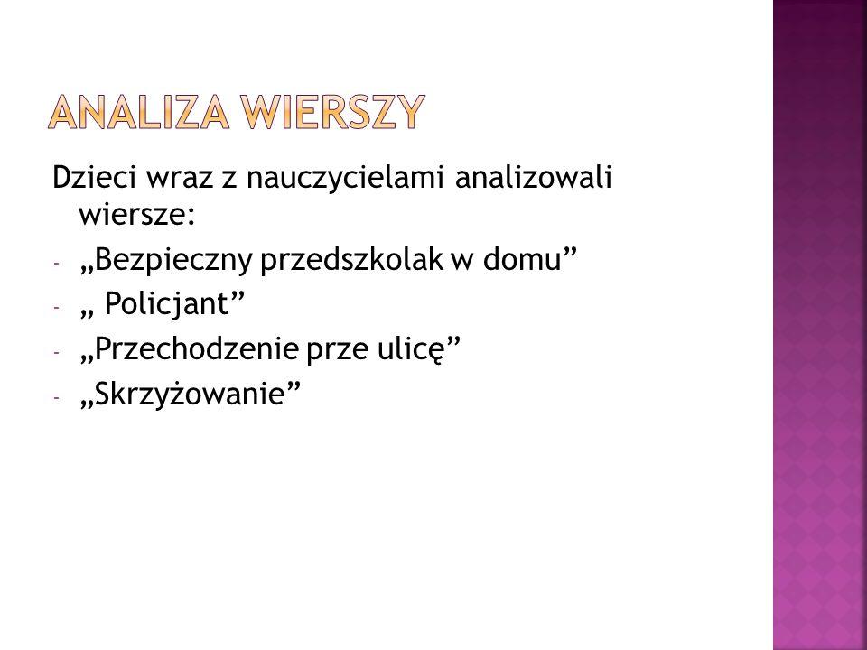 Analiza wierszy Dzieci wraz z nauczycielami analizowali wiersze: