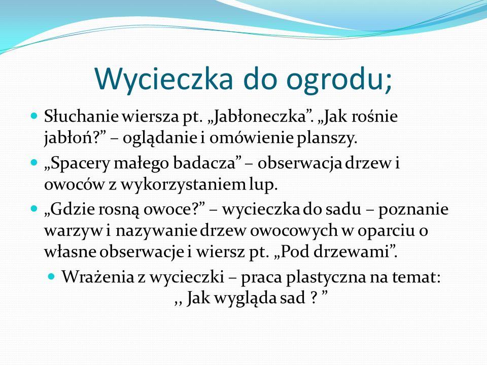 """Wycieczka do ogrodu; Słuchanie wiersza pt. """"Jabłoneczka . """"Jak rośnie jabłoń – oglądanie i omówienie planszy."""