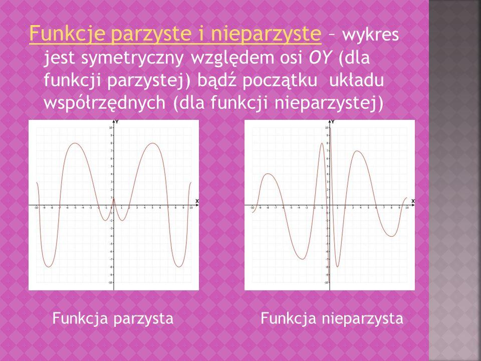 Funkcje parzyste i nieparzyste – wykres jest symetryczny względem osi OY (dla funkcji parzystej) bądź początku układu współrzędnych (dla funkcji nieparzystej)