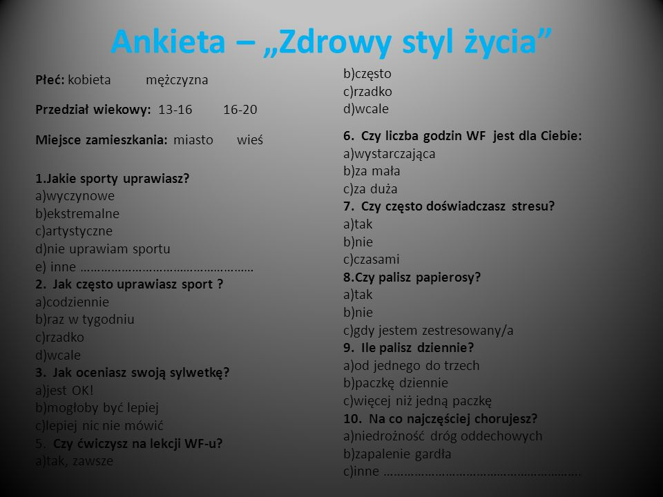 """Ankieta – """"Zdrowy styl życia"""