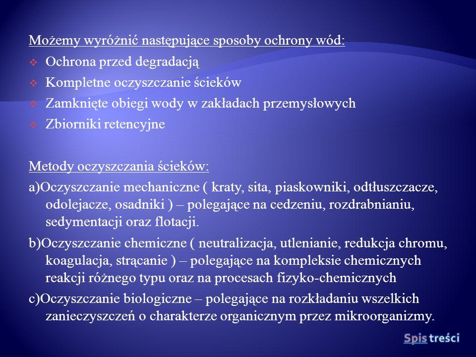 Możemy wyróżnić następujące sposoby ochrony wód: