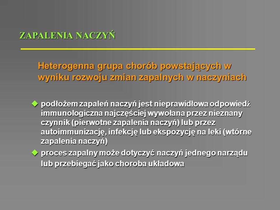 ZAPALENIA NACZYŃ Heterogenna grupa chorób powstających w wyniku rozwoju zmian zapalnych w naczyniach.