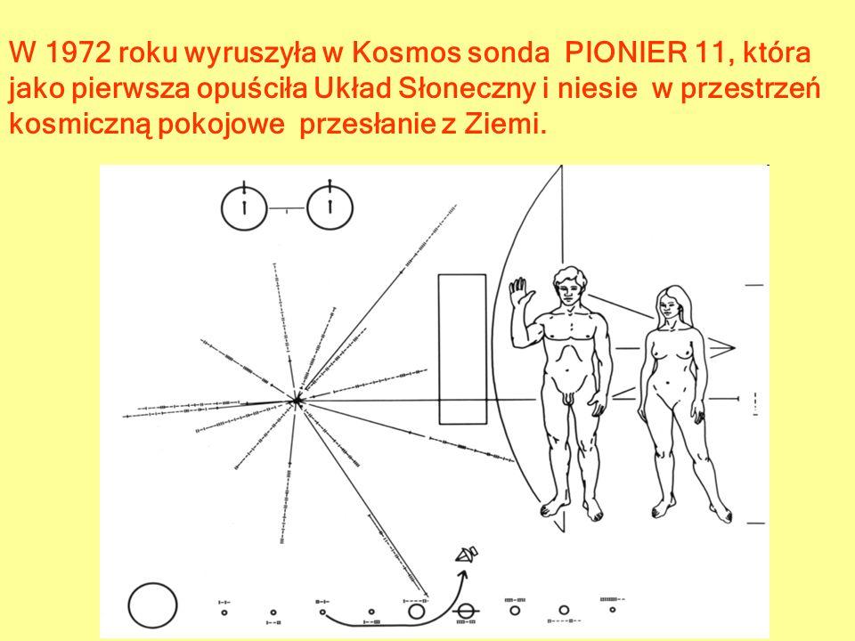 W 1972 roku wyruszyła w Kosmos sonda PIONIER 11, która jako pierwsza opuściła Układ Słoneczny i niesie w przestrzeń kosmiczną pokojowe przesłanie z Ziemi.