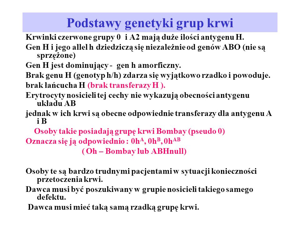 Podstawy genetyki grup krwi
