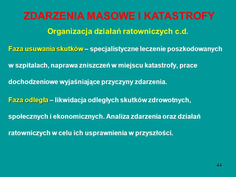ZDARZENIA MASOWE I KATASTROFY Organizacja działań ratowniczych c.d.