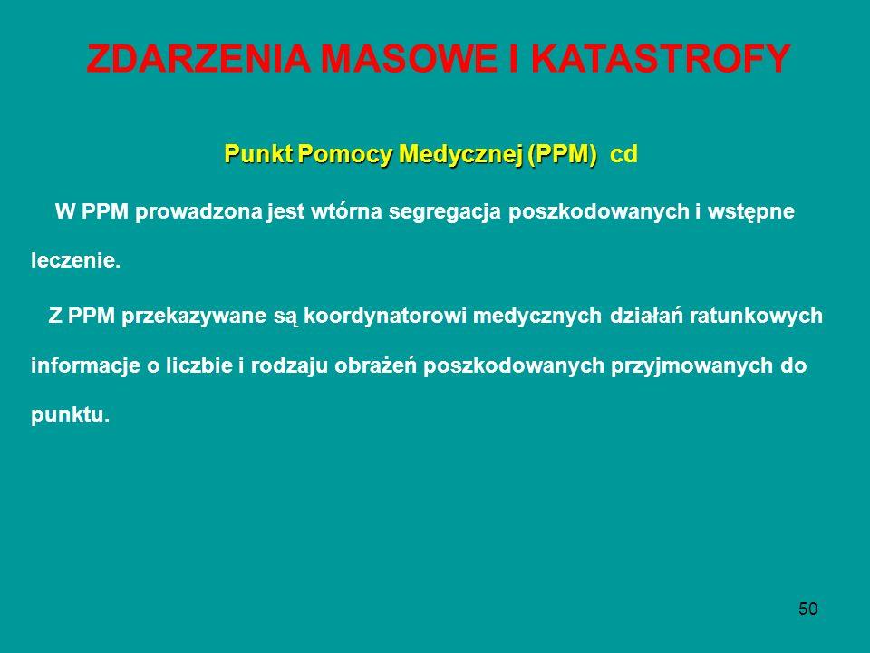 ZDARZENIA MASOWE I KATASTROFY Punkt Pomocy Medycznej (PPM) cd