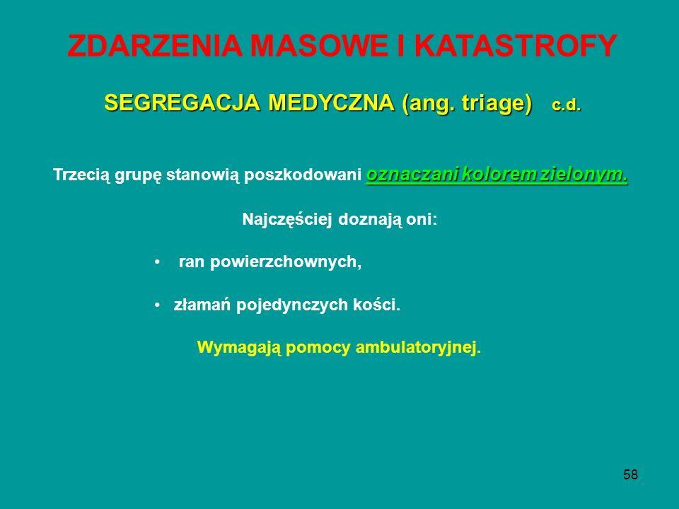 ZDARZENIA MASOWE I KATASTROFY Wymagają pomocy ambulatoryjnej.