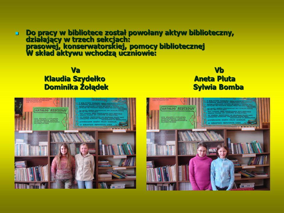 Do pracy w bibliotece został powołany aktyw biblioteczny, działający w trzech sekcjach: prasowej, konserwatorskiej, pomocy bibliotecznej W skład aktywu wchodzą uczniowie: