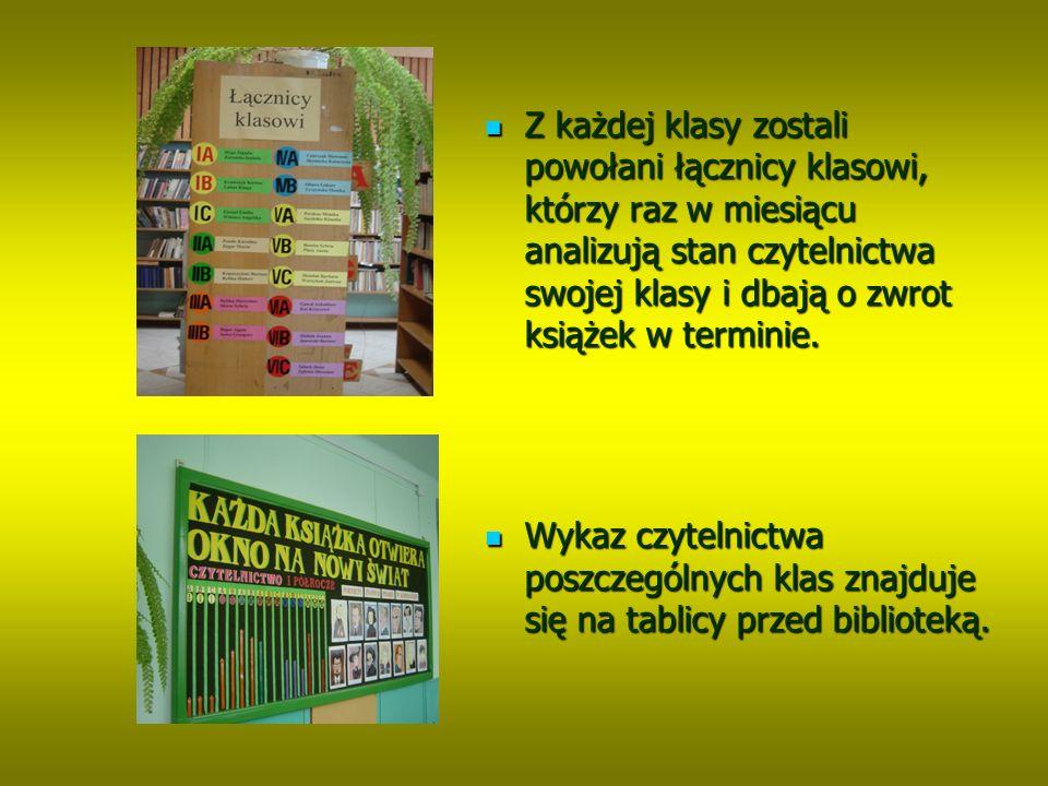 Z każdej klasy zostali powołani łącznicy klasowi, którzy raz w miesiącu analizują stan czytelnictwa swojej klasy i dbają o zwrot książek w terminie.