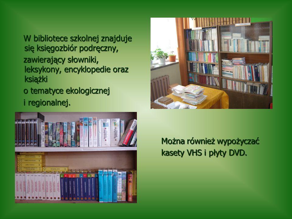 W bibliotece szkolnej znajduje się księgozbiór podręczny,