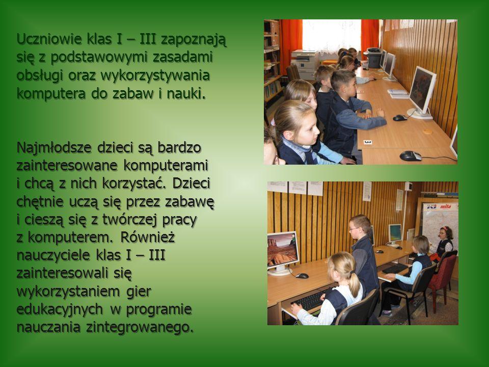 Uczniowie klas I – III zapoznają się z podstawowymi zasadami obsługi oraz wykorzystywania komputera do zabaw i nauki.