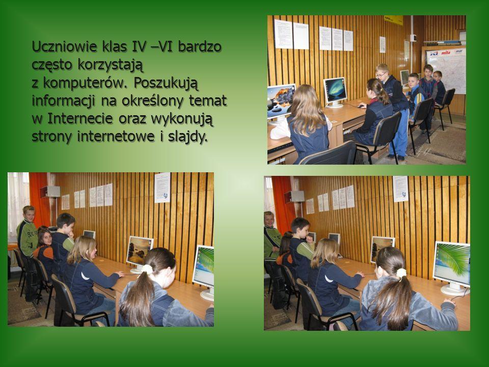 Uczniowie klas IV –VI bardzo często korzystają z komputerów