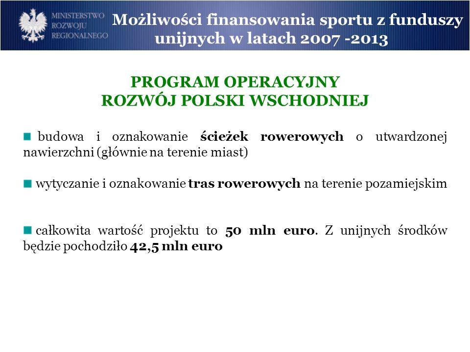 Możliwości finansowania sportu z funduszy unijnych w latach 2007 -2013