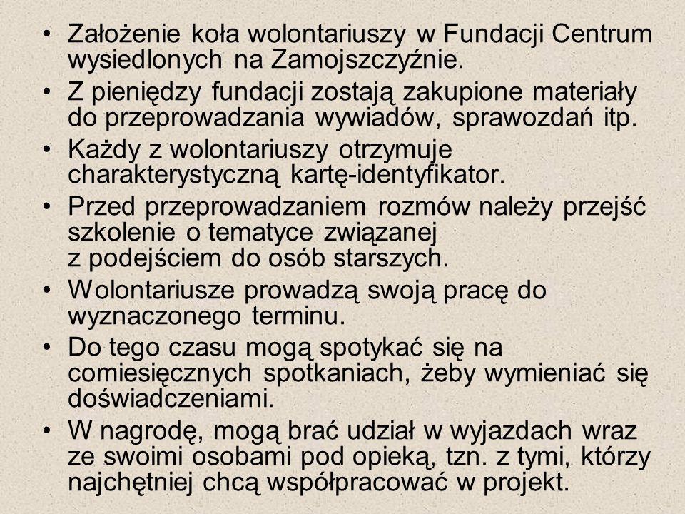 Założenie koła wolontariuszy w Fundacji Centrum wysiedlonych na Zamojszczyźnie.